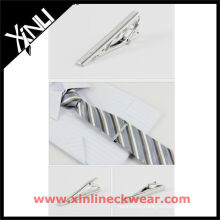Silver Copper Fashion Tie Clip and Silk Woven Tie