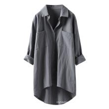 Women Shirt Casual Linen Button Shirts Female Elegant Solid Shirts