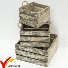 Cajas de madera francesas sólidas de la fruta del vintage para la venta