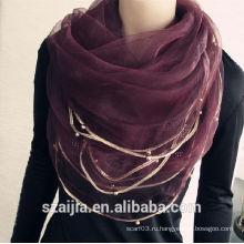 Модный женский вискозный кружевной длинный шарф / шаль