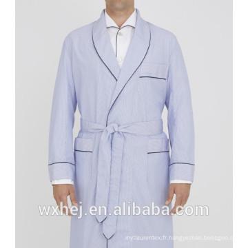 En gros Solide couleur poly coton gaufré kimono peignoir avec passepoil