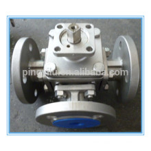 sus 304 flange type 3 way ball valve dimension