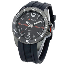 rubber belt quartz watch curren fashion design watch for business men