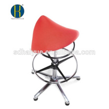 Cadeira de barbeiro de tecido vermelho cabeleireiro por atacado com apoio para os pés