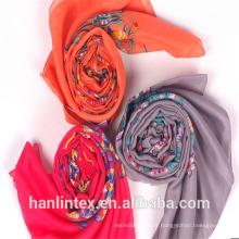 100% filé polyester gris voile pour écharpe / 100% filé tissu polyester pour écharpe