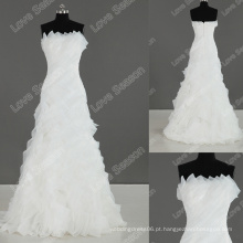 LS0118 nova chegada vestido de casamento de organza real de alta qualidade vestido de noiva simples popular vestido de noiva elegante ruffle a-line
