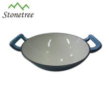 O frigideira chinesa LFGB do ferro fundido do punho do laço, FDA, GV certificou