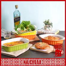 Cerâmica rodada amarelo assar utensílios com tampa de silicone Lunch box locker bowl Tigela de macarrão japonês