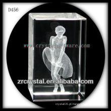 K9 3D Laser Subsuperfície Retrato Dentro Retângulo de Cristal