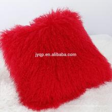 Véritable oreiller de fourrure mongole bouclés peau de mouton de luxe