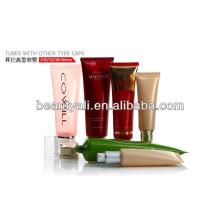 Plástico cosmético tubo de PE con otros tipos de tapas