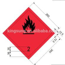 Etiqueta de gas inflamable Harzard clase etiqueta