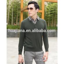 100% Kaschmir stricken Männer Hemdkragen Pullover