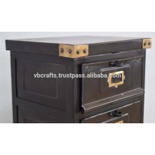 Vintage Industrial Metal Finish Drawer Cabinet With Brass Corners