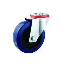 Roulettes pivotantes en caoutchouc élastique bleu à trou de boulon industriel