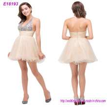 Beaded Pink Chiffon Trim Short Evening Dress Wholesale
