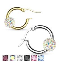 Boucles d'oreilles rondes / Boucle d'oreille en acier inoxydable Shamballa Crystal Ball