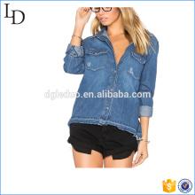 Veste en denim surdimensionnée délavée bleu t shirt design en denim personnalisé