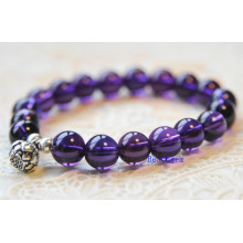 Natural Amethyst Beads Bracelet with Silver Charm (BRG0032)