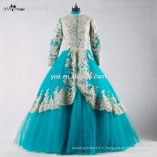 RSE695 Robe de soirée musulman à manches longues Robe de soirée