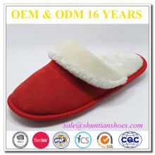Family warmth woman tpr sole suede winter indoor slipper