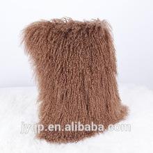 Vente chaude couleur véritable fourrure d'agneau tibétain mongol agneau fourrure Coussin