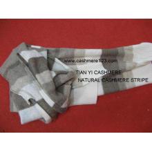 100% Kaschmir Natur Streifen Schal