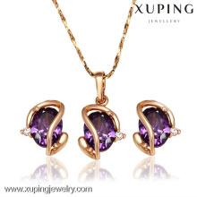 62397-Xuping Hot New Jewelry Jewelry Design Juego de joyas de oro