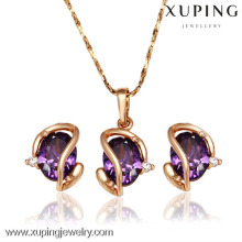 62397-Xuping Hot New Fine Jewelry Design Conjunto De Jóias De Ouro