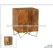 Industrial Mango Holz mit Messing Inlay und Metall Beine 1 Tür Nachttisch