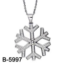 Jóia da forma 925 pingente de floco de neve de prata esterlina