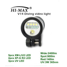 HI-MAX V14 avec 5pc XM-L / U2, 2pc XP-G R2, 3pc UV LED, 2400lm Wide, 900lm Spot, 140lm Red, 3W uv led 365nm Video Lights