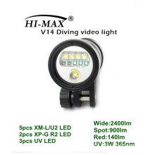 HI-MAX V14 with 5pc XM-L/U2, 2pc XP-G R2, 3pc UV LED, 2400lm Wide, 900lm Spot, 140lm Red, 3W uv led 365nm scuba diving torch