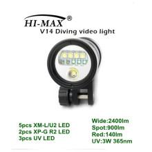 HI-MAX V14 с 5-мегапиксельным XM-L / U2, 2-кратным XP-G R2, 3-кратным ультрафиолетовым светодиодом, 2400lm широким, 900lm пятном, 140lm красным, 3W UV светодиодом 365nm Видео