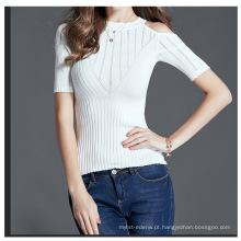 PK18CH003 mulheres Sexy pullover tshirt mistura de algodão magro manga curta