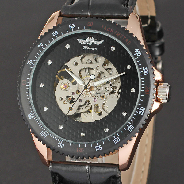 winner business skeleton watch with transparent back case unique design wrist watch