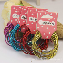 10 Pieces Card Packed Metal Color Elastic Rubber Hairbands (JE1586)