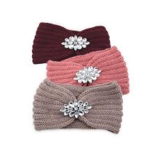 Bandeau cheveux tali rambut warm Rhinestone Wollen knitted cross headband sports headband ear protection headgear handmade Fall Winter Thick hair accessorie