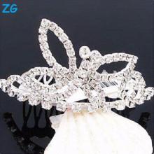 Precioso cristal nupcial pelo accesorios peines de pelo, peinados de metal lado peinado para la princesa, peines de pelo de metal