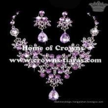Flower Diamond Necklace Set With Blue Diamond Pendant