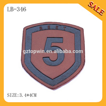 LB346 2015 fashion superior quality custom embossed leather label,,leather sofa patches with 3D raised logo