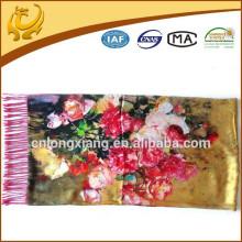 52 * 200cm Mulheres Elegante Flor 100% Seda Grande Lenço Longo Rose Shawl Impresso Com Franja
