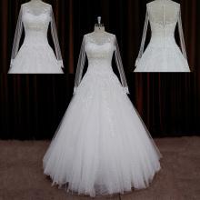 Lange Vintage Spitze Braut Brautkleider funkeln Blatt