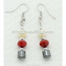 Boucles d'oreilles à perles de cristal à l'hématite magnétique