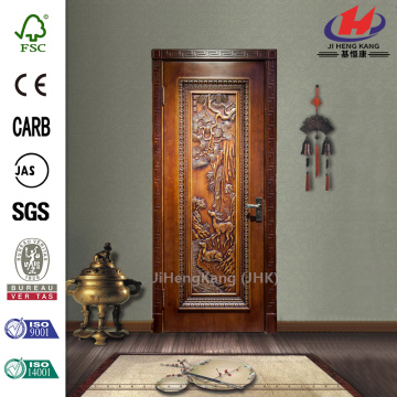 JHK-001 Sale Prison Hand Carved Solid Teak Wood Interior Sliding Door