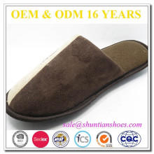 Printed logo suede fabric mans high quality men slipper