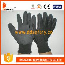 Schwarzes Nylon mit schwarzem Nitril-Handschuh Dnn458