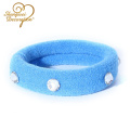 Nuevo diseño Seamless Terry Cloth Lastic Hair Ties con shinny diamond