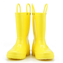 Kids New Fashion Yellow Color Waterproof Nature Material  Rain Boots Easy-on Handles Shoes