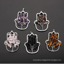 Natural Crystal Hand Tree of Life Pendant Hand-Wound Silk Pak Tree Palm Sweater Chain Pendant